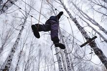 Man Walking On Rope Bridge, Ural, Sverdlovsk, Russia