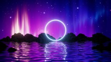 3d Render, Abstract Background With Midnight Landscape: Aurora Borealis Glowing Lights In The Starry Night Sky Above The Water And Mountains. Bright Neon Round Frame. Sacred Geometry.