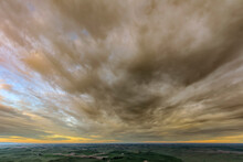Sunset Above Palouse Agricultural Region Of Eastern Washington State., From Steptoe Butte State Park.