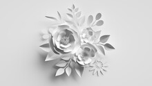 3d Render, Abstract White Background With Bouquet Of Paper Flowers And Leaves, Floral Craft, Botanical Wallpaper