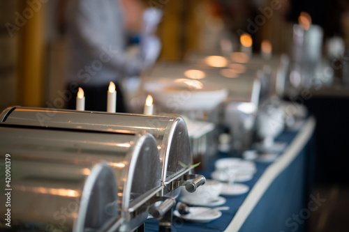 buffet food, catering food party at restaurant, mini canapes, snacks and appetiz Fotobehang