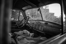 Vintage Car Front Seat, Black And White Image, Nelson, Nevada, USA