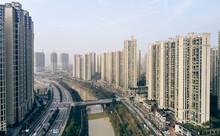 Skyscrapers Along River, Leifeng, Hunan, China