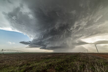 Landscape With Massive Supercell In The Eastern Texas Panhandle, USA. Massive Baseball-sized Hail Fell With This Storm