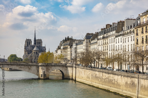 Scenic waterfront view of Notre Dame Cathedral, Paris, France