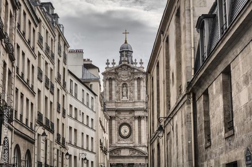 Scenic view of church Eglise Saint-Paul Saint-Louis, Paris, France