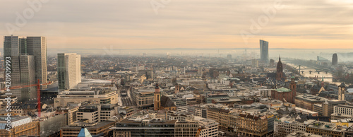 Fototapety, obrazy: Frankfurt-panorama foggy morning