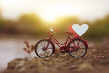 Red Bicycle Vintage In Spring Nature Summer Background Copy Spec, Red Heart On Bicycle
