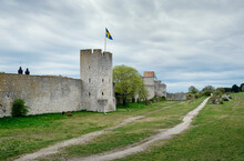Medieval City Wall Surrounding City, Visby, Gotlands Lan, Sweden