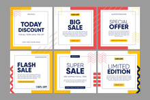 Sale Square Banner Template For Social Media Post, Feed, Bannes Design, Web Or Internet Advertisment. Trendy Abstract Square Template With Colorful Concept.