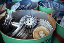 Scrap Titanium Aircraft Parts In Titanium Recycling Plant