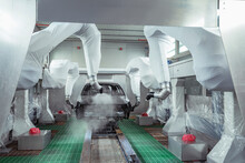 Robot Paint Spraying Car Bodies In Car Factory