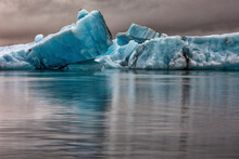 Icebergs Floating In Glacier Lagoon, Jokulsarlon Lagoon, Iceland