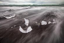 Chunks Of Ice Resembling Diamonds, Jokulsarlon Beach (Diamond Beach), Iceland