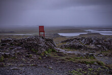 Lone Red Chair Placed In Middle Of Nowhere, Ring Road, Iceland