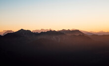 Sunset Over Mountainscape, Bludenz, Vorarlberg, Austria