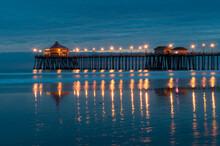 Huntington Beach Pier At Night, California, USA
