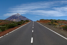 Road To Mount Teide (Pico De Teide) Through Teide National Park, Tenerife, Canary Islands, Spain