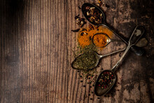 Spoons With Variety Of Spices And Condiments