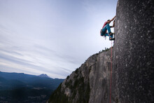 Rock Climb Of Heatwave, On Top Of The Chief, Squamish, Canada