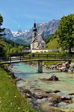 Parish Church By The Mountains At Reiteralpe, Ramsau Near Berchtesgaden.