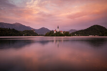 Aerial View Of Bled Island With Church Of The Assumption At Dusk, Lake Bled, Upper Carniola, Slovenia