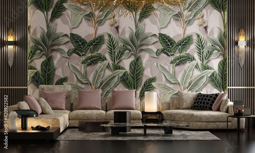 Fototapeta Modern luxury living room design and wallpaper decoration of tropical plant leaves with green color, pink background, sofa panels with tables, lighting  obraz