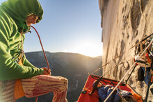 Two Mountaineers In A Portaledge On The Nose, El Capitan, Yosemite National Park.