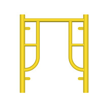 Main Frame Or H-frame Vector Design. Walk Through Type. Accessory, Component Or Part Of Scaffolding System. Safety Equipment Use To Built Stage, Temporary Work Platform For High Building Construction.