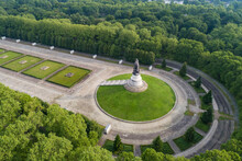 Aerial View Of Soviet War Memorial And Military Cemetery In Treptower Park, Berlin, Germany.