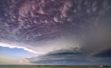 Intense Front-flank Mammatus Cloud Seen Over A Tornado Thunderstorm At Dusk
