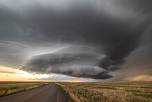 Incredible Supercell Spinning Across Wyoming, Sky Full Of Dark Storm Clouds
