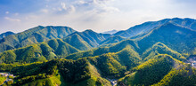 Aerial View Of Mountain Valley And Green Forest In Hangzhou,China.