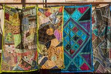Colourful Patchwork Tablecloths On Sale, Old City Of Jerusalem, Israel.