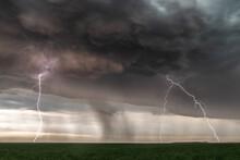 Lightning During A Barrage And Dust Storm Near Kanorado, Kansas, USA.
