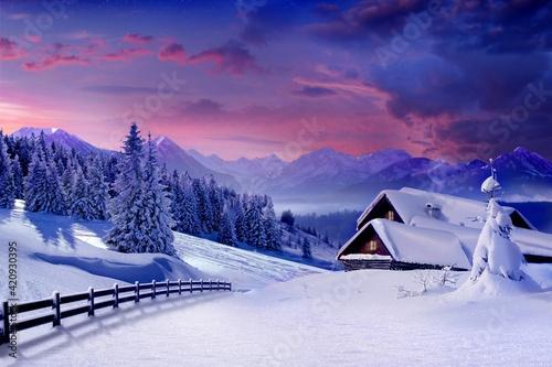 Fototapety, obrazy: winter mountain landscape background