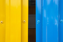 Yellow And Bleu Wall Beautiful Colorful Yellow And Blue Zinc Wall Metal Fence Background