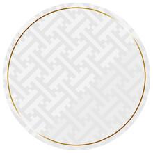 円形のフレーム ホワイト&ゴールド 全面に紗綾文様