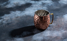 Shiny Copper Moscow Mule Mug With Handle. Hammered Vintage Copper Mug