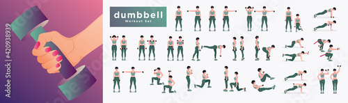 Obraz Dumbbell workout Set. Women doing fitness and yoga exercises. Lunges, Pushups, Squats, Dumbbell rows, Burpees, Side planks, Situps, Glute bridge, Leg Raise, Russian Twist, Side Crunch .etc - fototapety do salonu