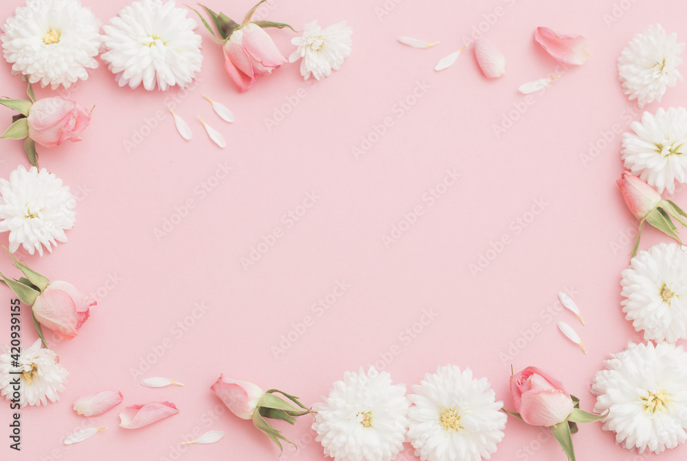 Fototapeta pink and white flowers on pink paper background