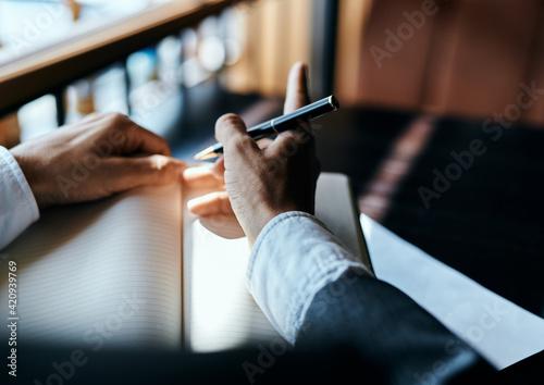 Fotomural work desk documents cafe official finance manager
