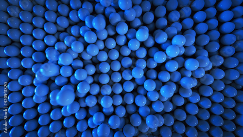 Foto Blue spheres falling 3D render illustration
