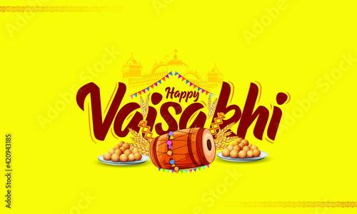 Fotografia, Obraz illustration of Happy Vaisakhi / Baisakhi Punjabi festival celebration backgroun