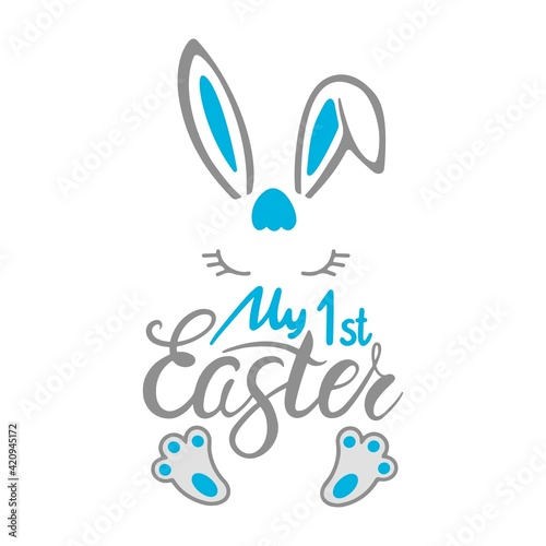 Fototapeta My first Easter quote with Bunny baby boy isolated on white background. Easter bunny icons. Vector flat illustration. Design for textile, greeting card, print. obraz