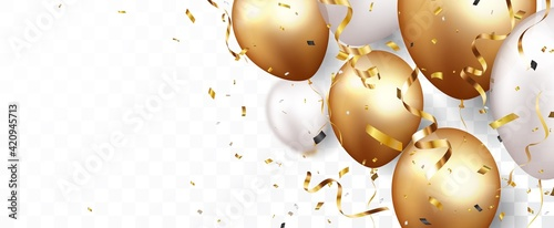 Foto Celebration banner with gold confetti and balloons