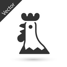 Grey French Rooster Icon Isolated On White Background. Vector