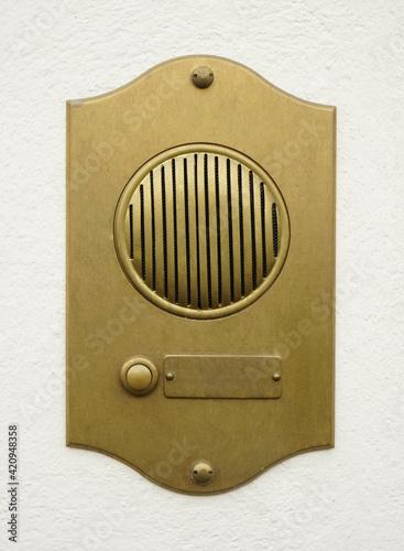Obraz na plátne Old Bronze Door Intercom Buzzer