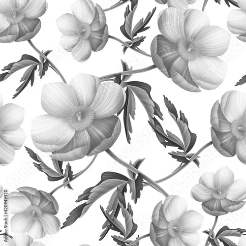 Fotografia Seamless floral pattern with anemones flowers