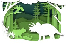 Paper Cut Dino Silhouettes And Nature Landscape, Vector Illustration. Dinosaur, Reptile Wild Animal. Archeology, History